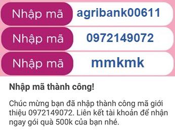 Mã giới thiệu Momo nhận 999K: agribank00611, mmkmk, 0972149072